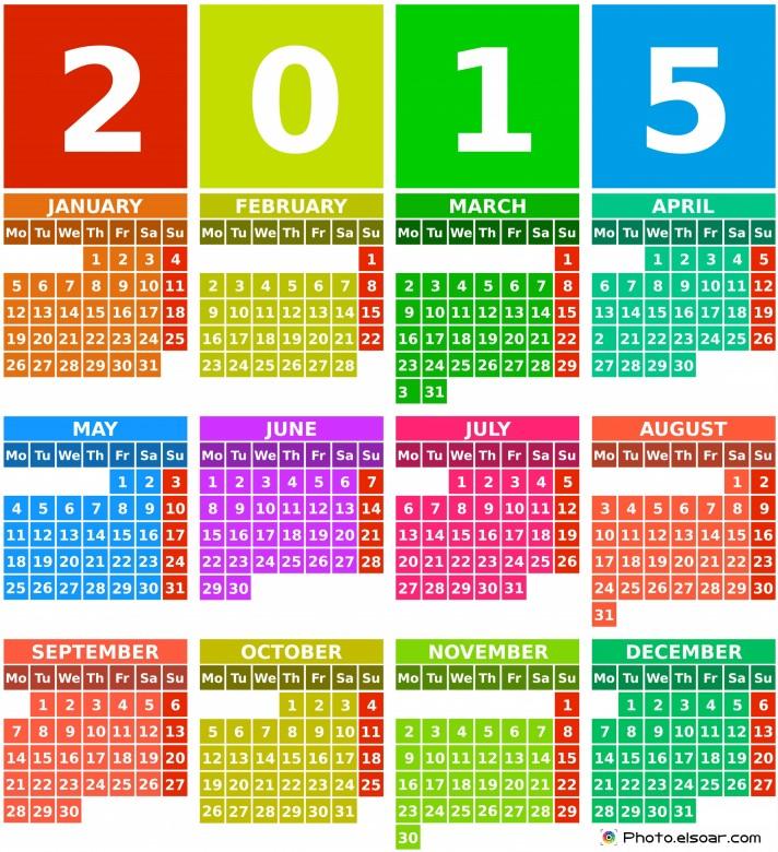 Rainbow 2015 calendar with months.
