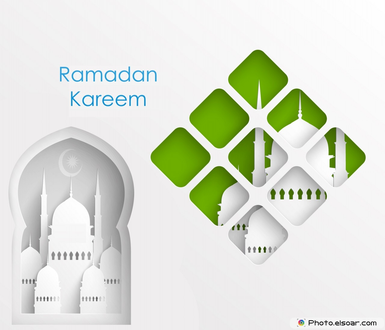 Ramadan Kareem with Muslim Paper Graphics