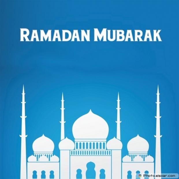 Ramadan Mubarak With Islamic Mosque. Blue Background