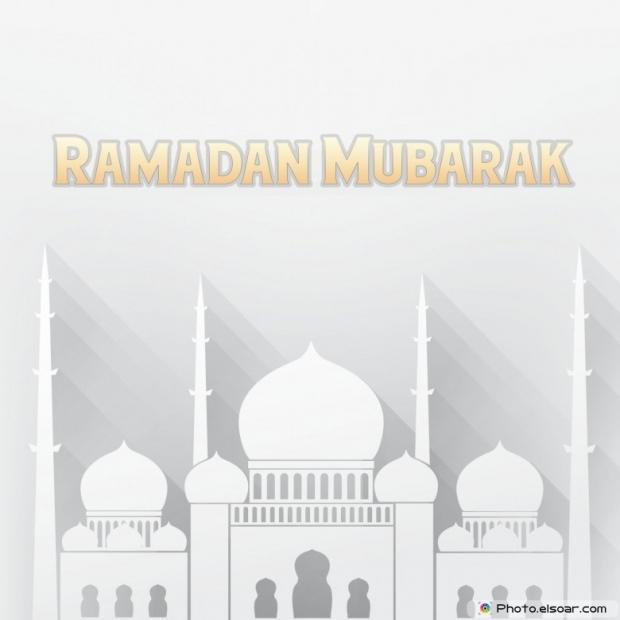Ramadan Mubarak With Islamic Mosque. Grey Background