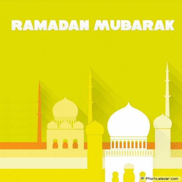 Ramadan Mubarak With Islamic Mosque. Yellow Background