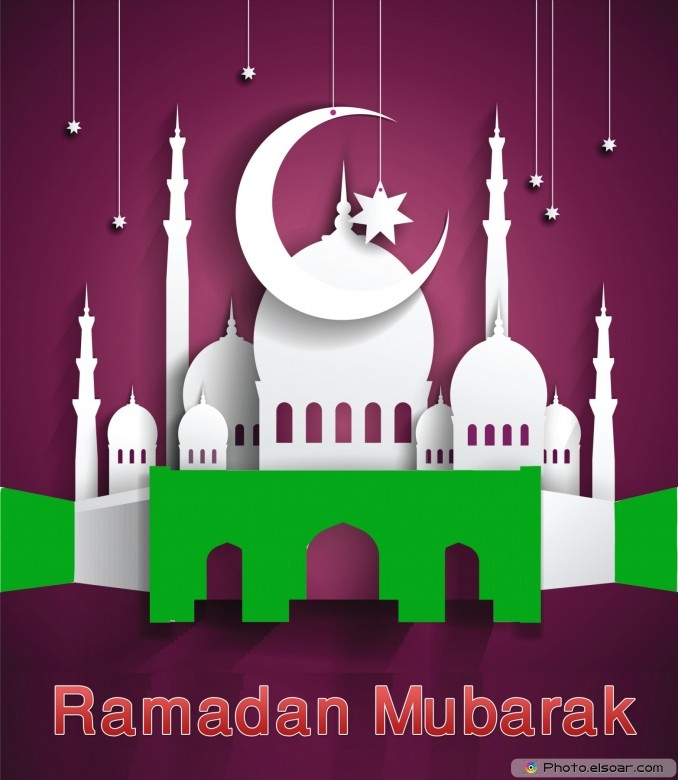 Ramadan Mubarak with a mosque and a crescent moon and star