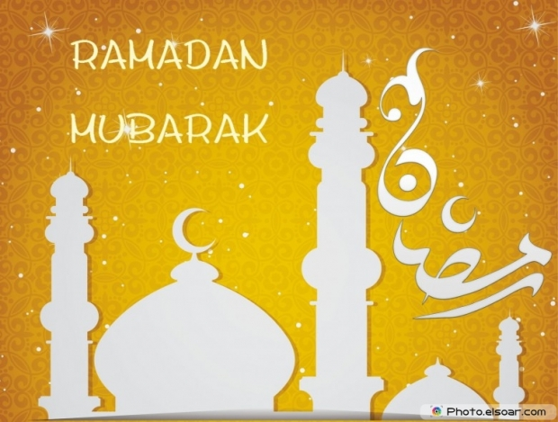Ramadan Mubarak picture with mosque on golden background