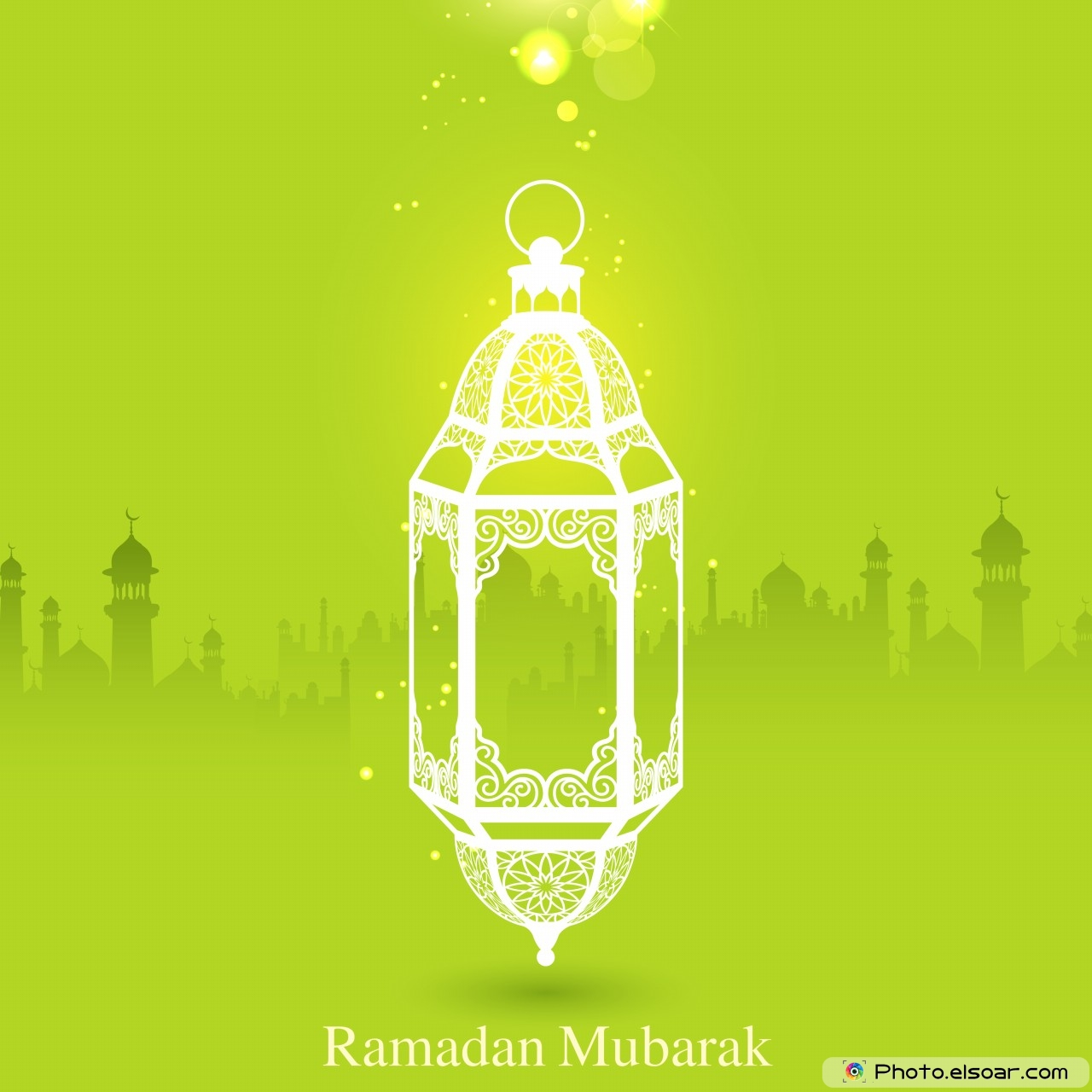 Ramadan Mubarak with pretty lantern