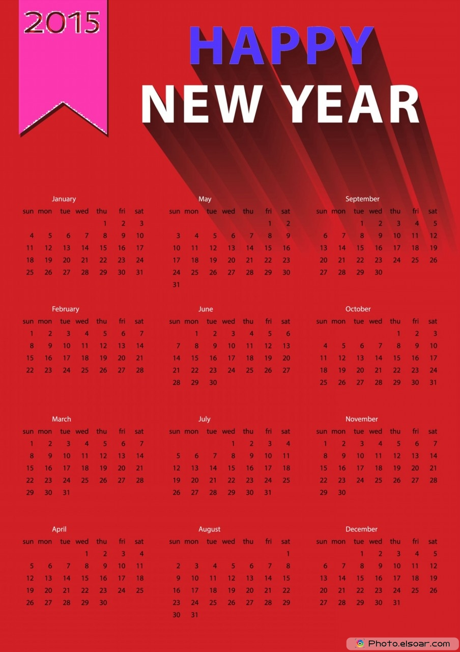 Red 2015 European calendar with Happy New yearRed 2015 European calendar with Happy New year