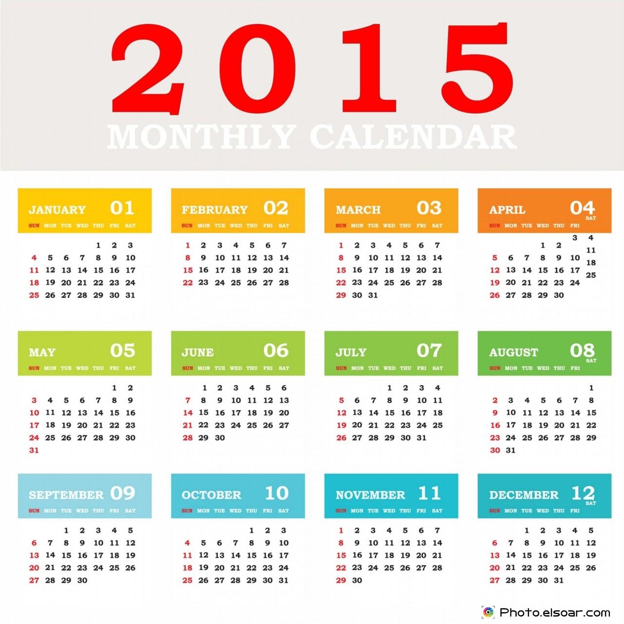 Simple 2015 Calendar For Homes