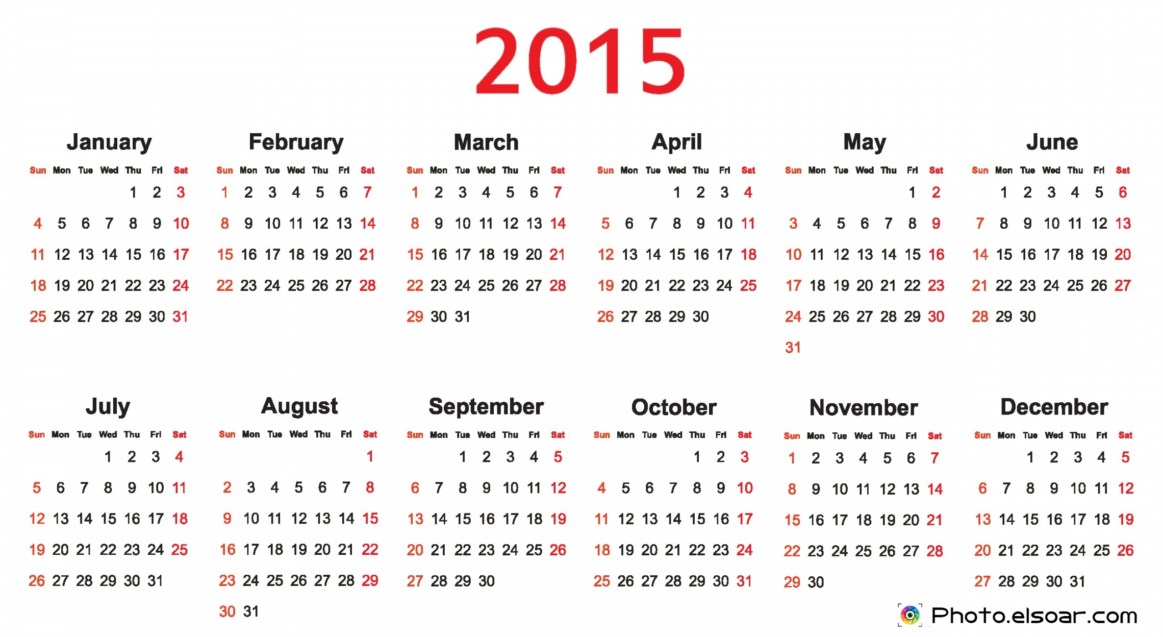 Free Monthly Calendars 2015 On White Backgrounds • Elsoar