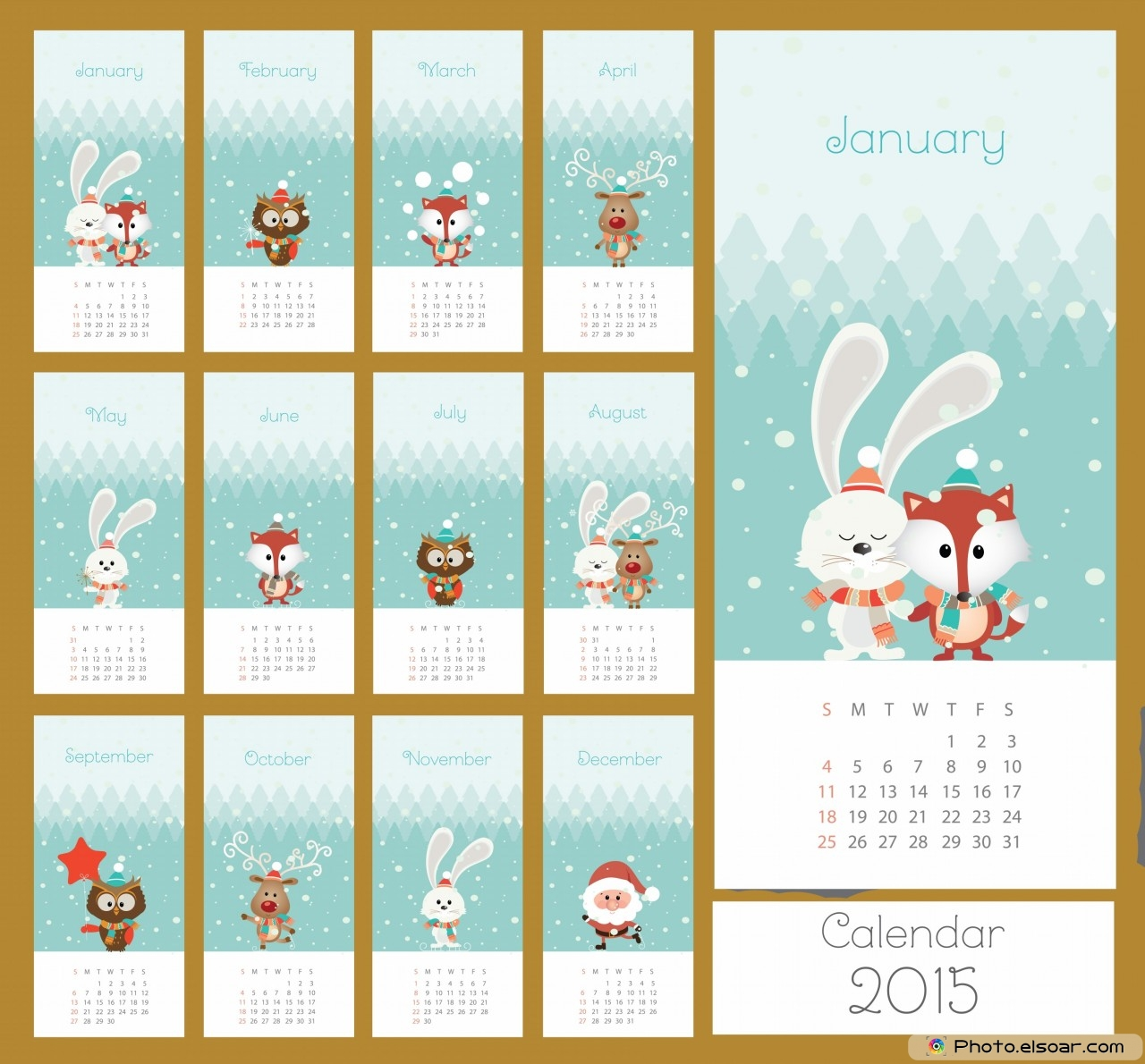 Simple Calendar 2015 With Pets For Children