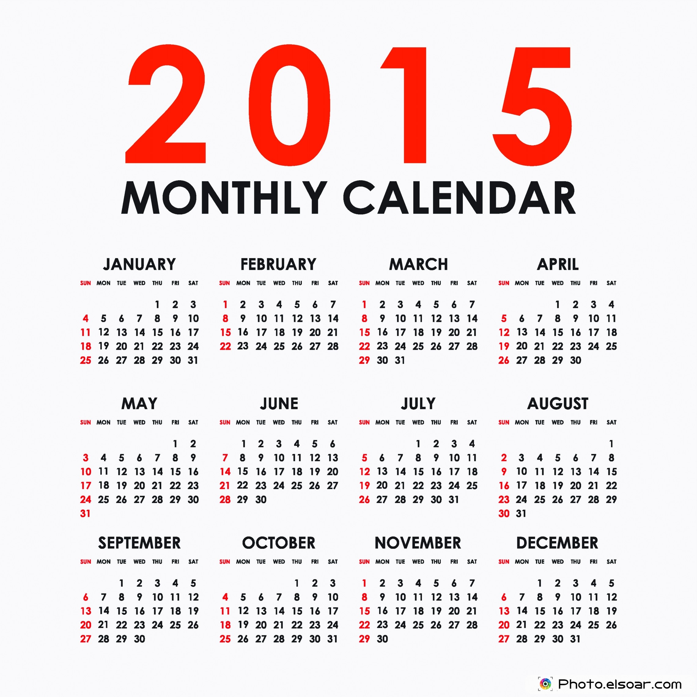 free monthly calendars 2015 on white backgrounds elsoar