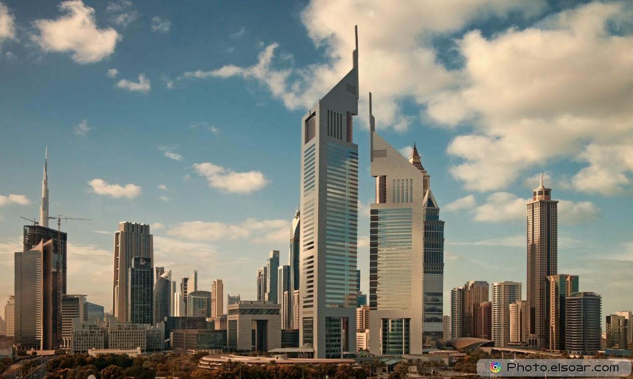 Skyscrapers in skyline of Dubai