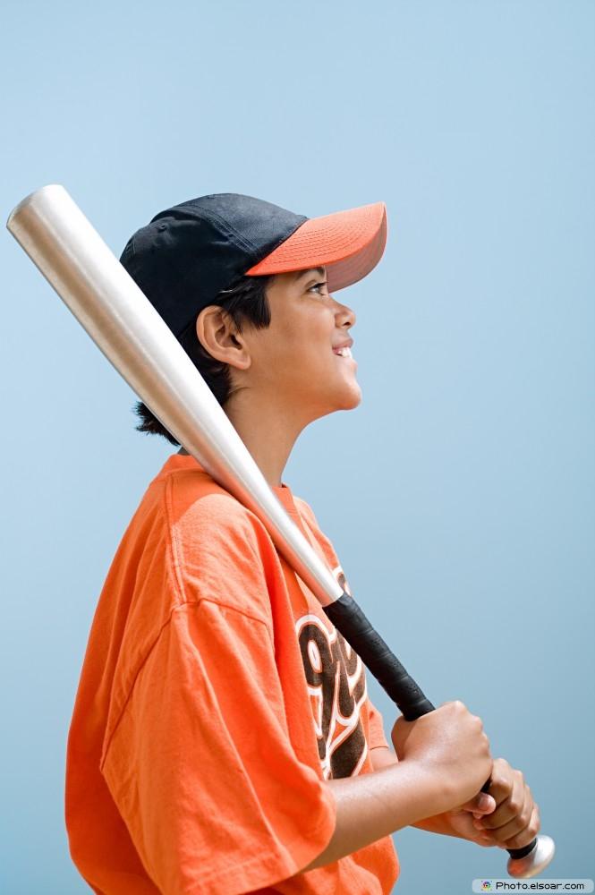 Smiling Boy With Baseball Bat