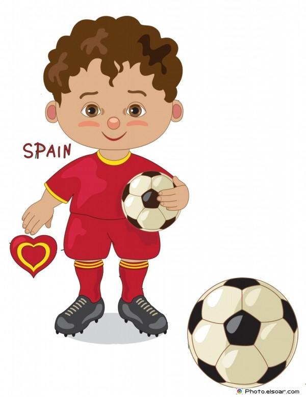 Spain National Jersey, Cartoon Soccer Player