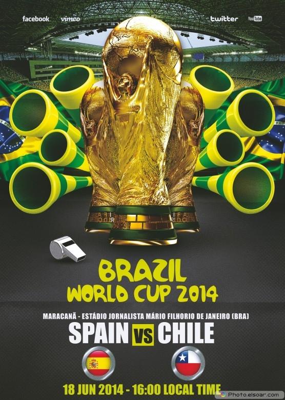 Spain vs Chile - World Cup 2014 - 18 Jun 2014 - 16:00 Local time - Group B - Maracanã - Estádio Jornalista Mário Filho - Rio De Janeiro