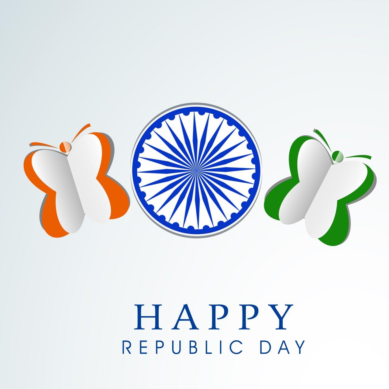 Stylish Happy Indian Republic Day. Ashoka Wheel & Butterflies