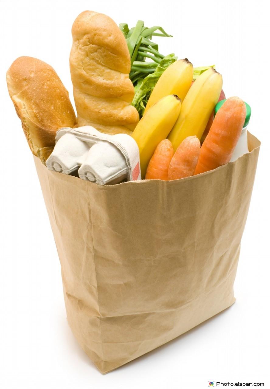 Tasty food in Paper bag