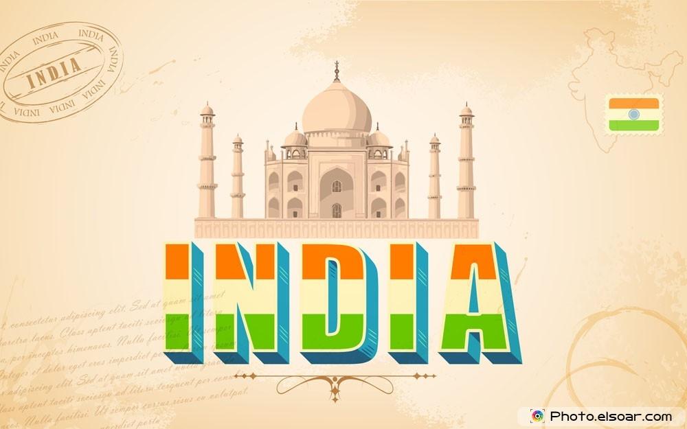 The Word India With Taj Mahal