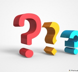 Three Question Marks In 3D Image Many Colors