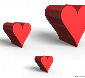 Three Red Hearts 3D Design Picture