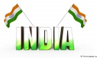 Tow Stylish Indian Flag With India 3D Text