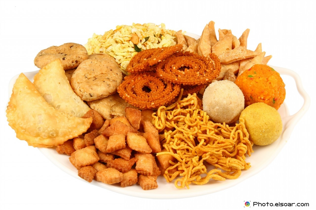 Traditional indian snack platter