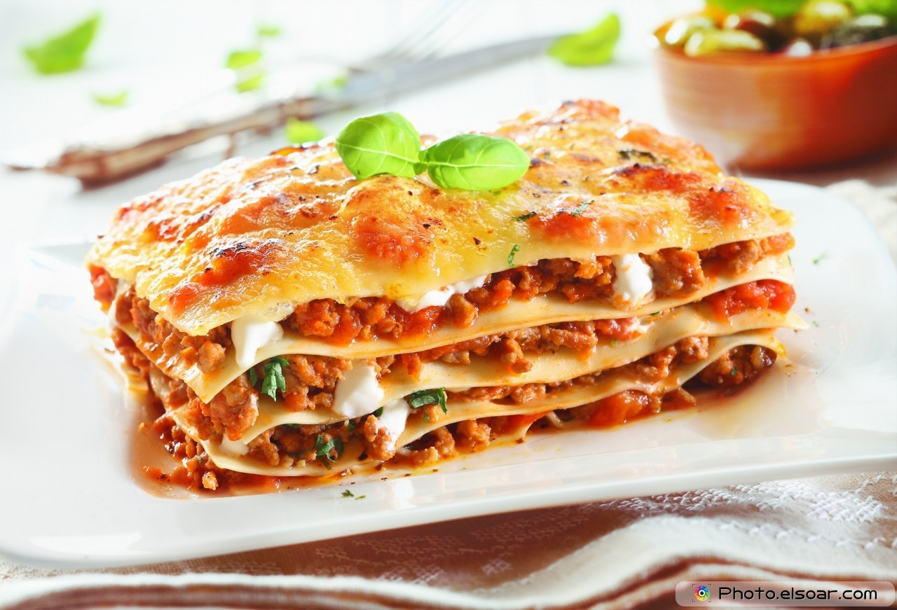 Traditional lasagna made with minced beef