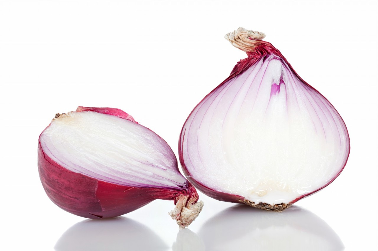 Two red onion halves