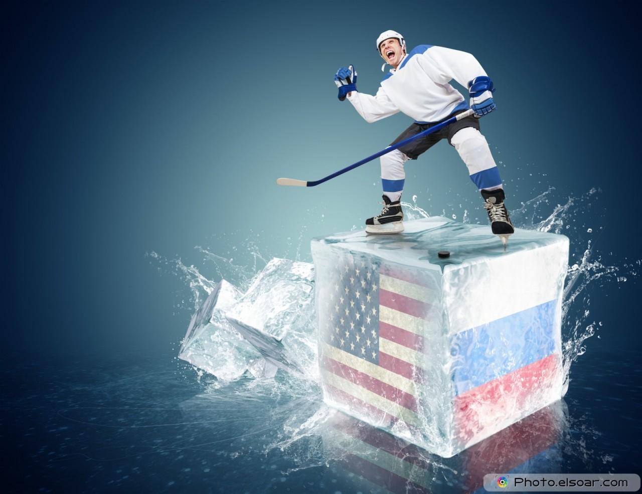 USA - Russia game. Spunky hockey player
