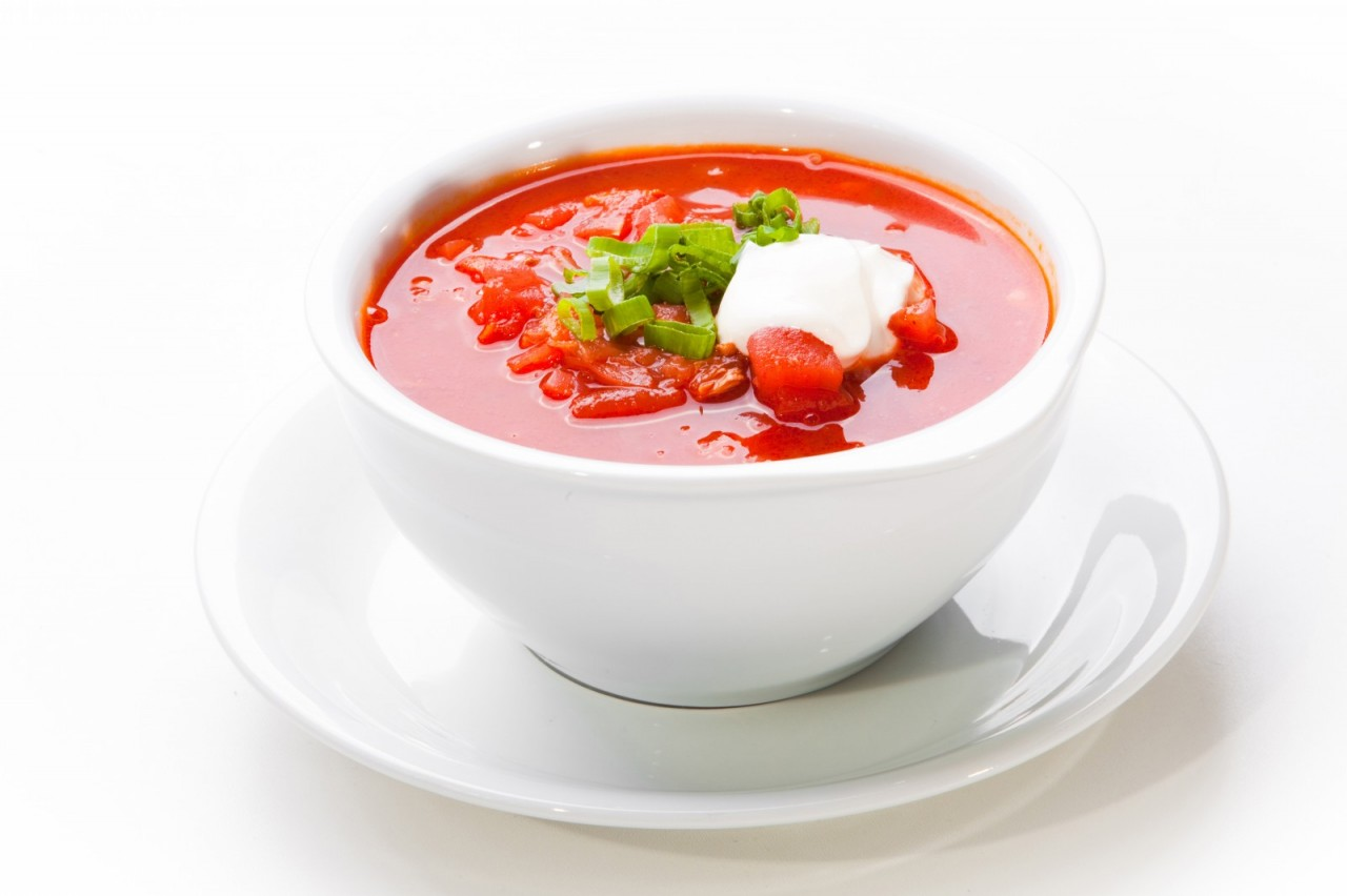 Ukrainian and russian national red soup-borsch