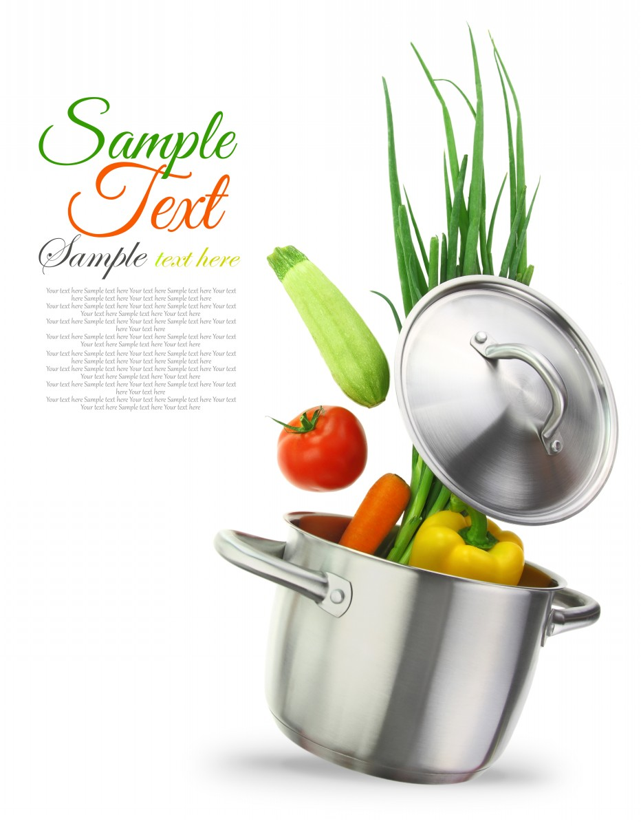 Vegetables in a stainless steel cooking pot