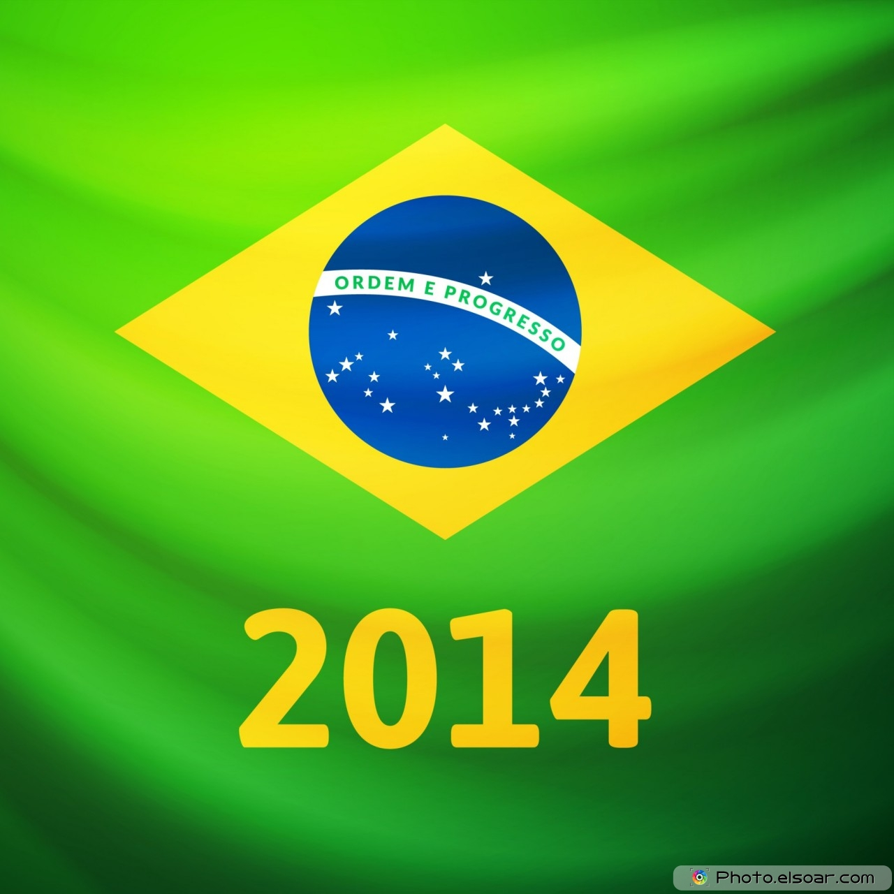Waving fabric flag of Brazil with 2014