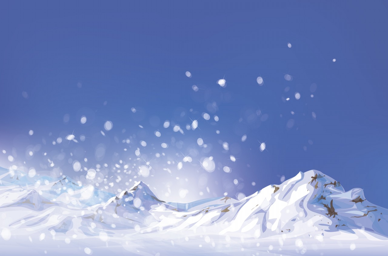 Winter scene, white snow, mountains and blue sky