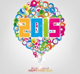 Wishing You A Happy New Year 2015 With Social Network Icons