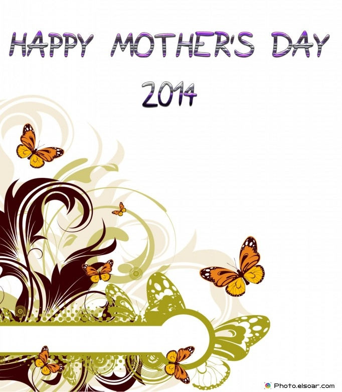 With beautiful butterflies. Mother's Day Free Card 2014