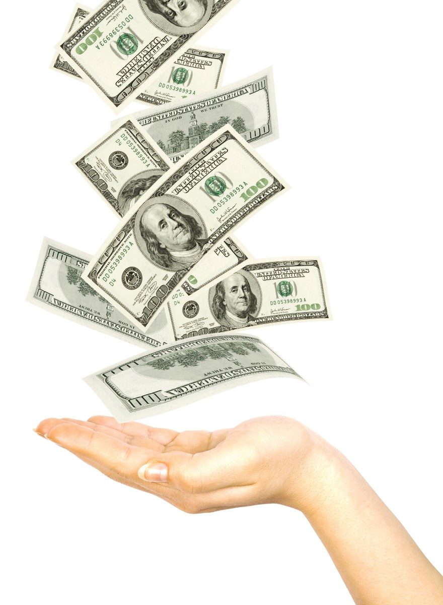 Womans hand with money