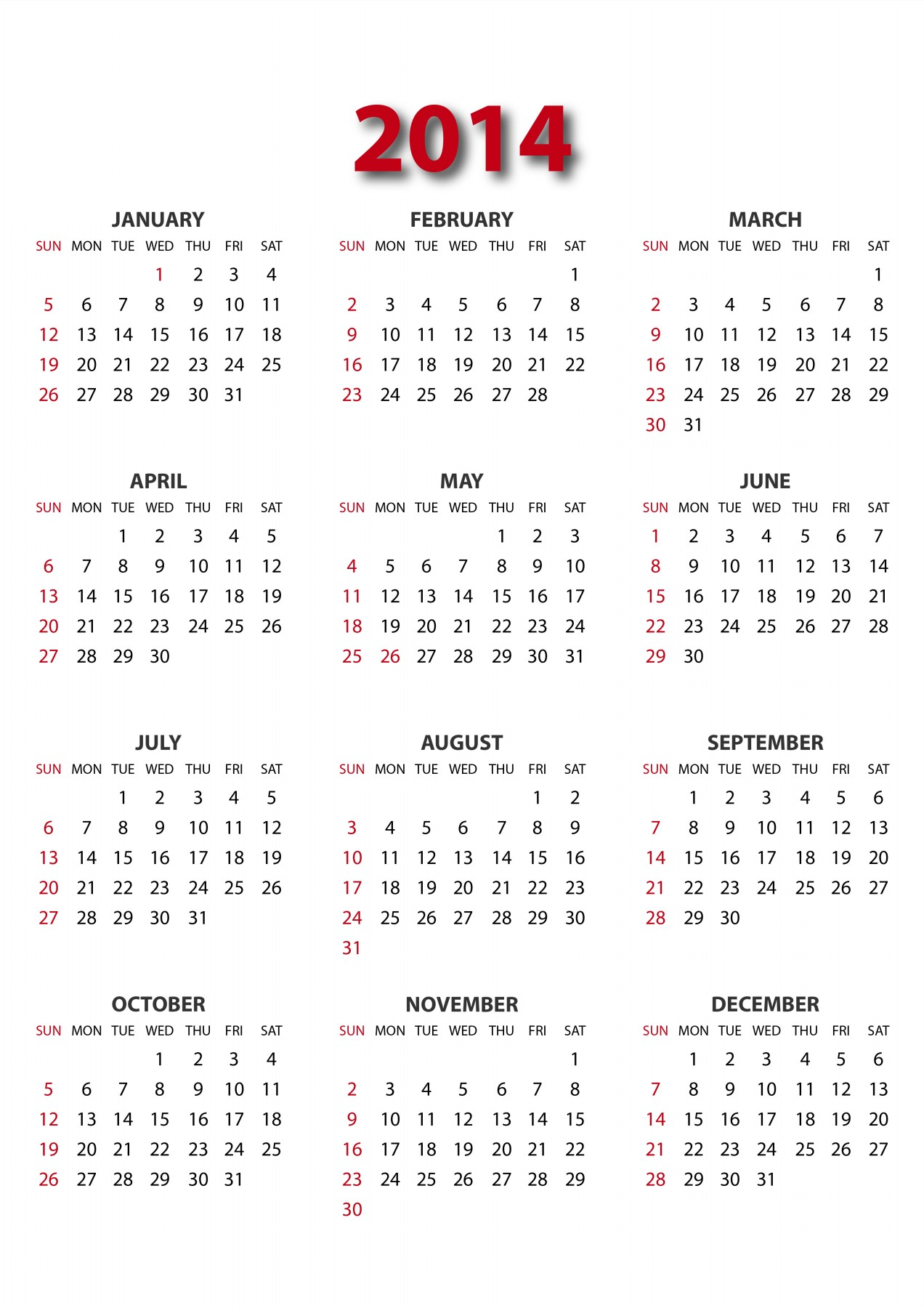 2014 Whole Year Calendar. 2014 Calendar Printable One Page W Holidays ...