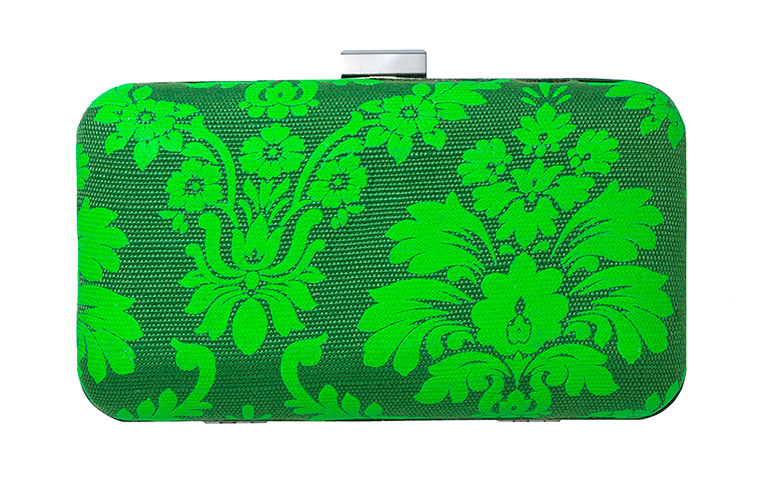 green patterned clutch bag