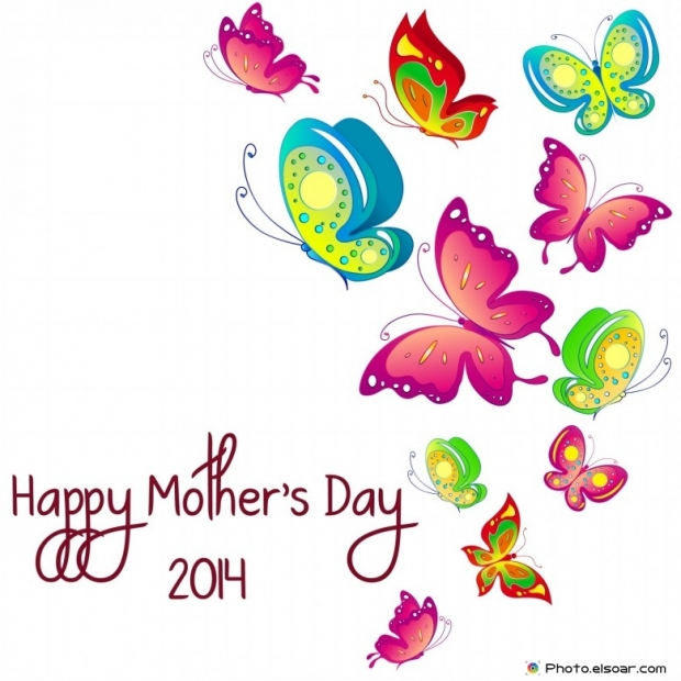 Happy Mother's Day 2014 with Hot colorful butterflies