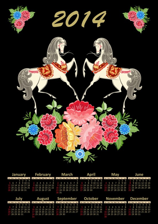 horses+Flowers 2014 Calendar Printable, Black Background