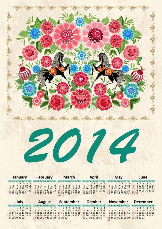 horses, Flowers 2014 Calendar Printable