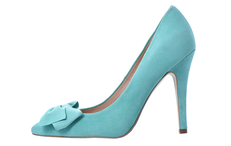 mint green suede  court shoes