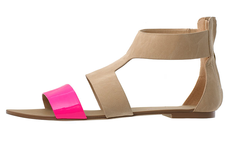 pink and beige flat sandals