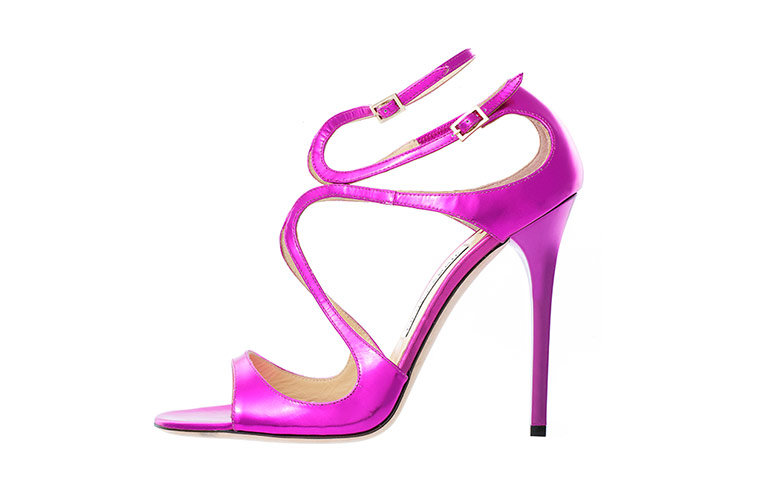 pink high heeled sandal