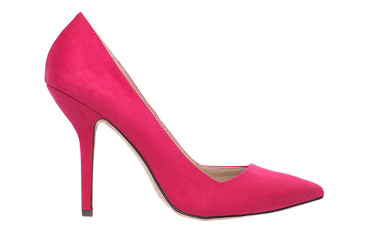 pink suede high heeled shoes