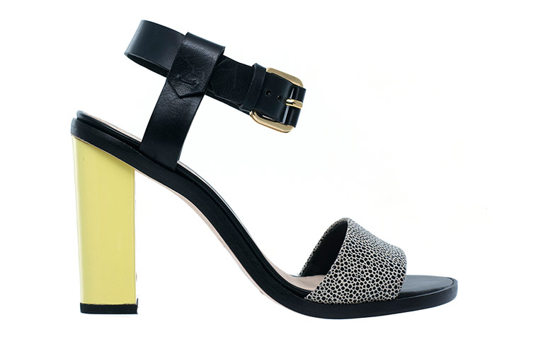 yellow heel black sandal